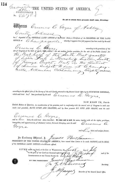 1859 Erasmus C Goyne 1859 Arkansas land grant