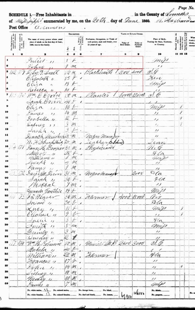 1860 US Census Lowndes Co MS w EH Goyne next to John A Snell a Elizabeth p2