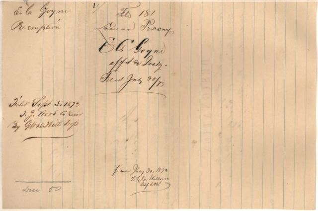 1873 to 76 land grant for E C Goyne p3