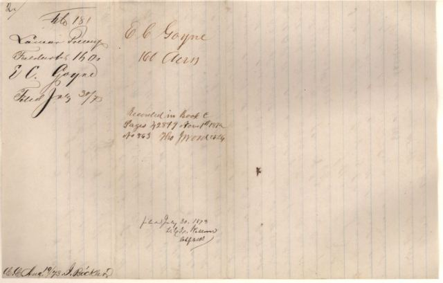 1873 to 76 land grant for E C Goyne p5