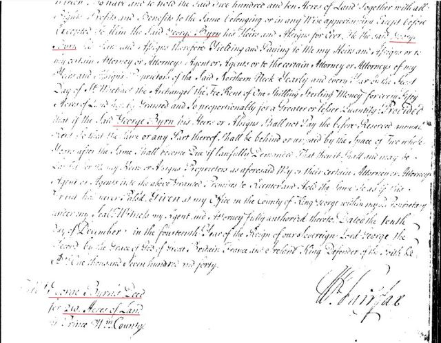 1740 Henry Hollis adjacent to George Byrn in PWC Va marked snip 2