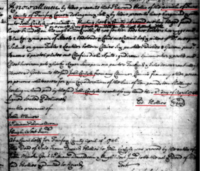 1746 Edward Hollis sale to John Carlyle of goods in Fairfax Co Va