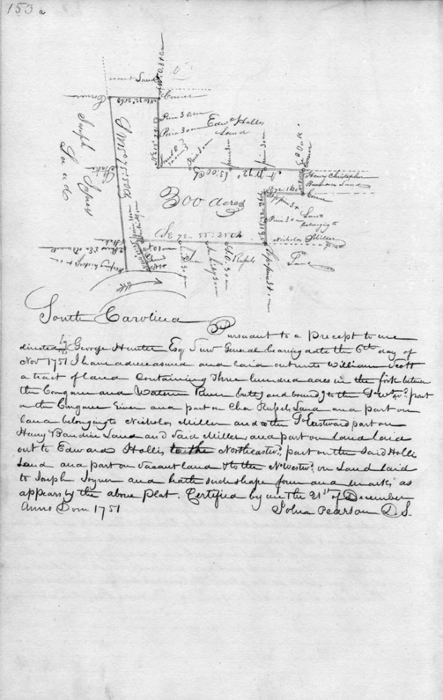 1751 William Scott adj to Edward Hollis on Wateree in SC