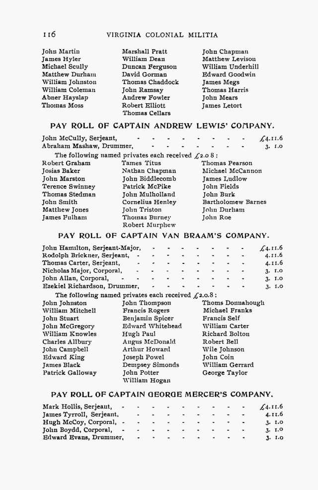 1754 Jul 29 Mark Hollis Serjeant on payroll of Capt Geo Mercers Co in Va