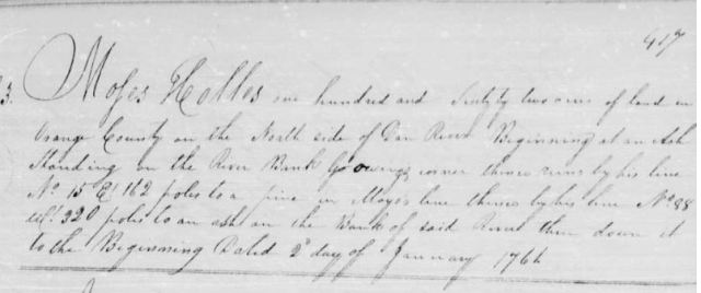 1761 Moses Hollis grant Orange Co, NC