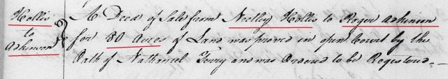 1762 May Neetley or Notley Hollis conveys 80 acres of land to Roger Adkinson proved by oath of Nathaniel Terry in Orange Co NC
