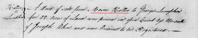 1764 Moses Hollis to George Lumpkin 82 acres land in Orange Co, NC