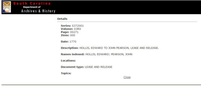 1770 Edward Hollis to John Pearson lease and release in SC