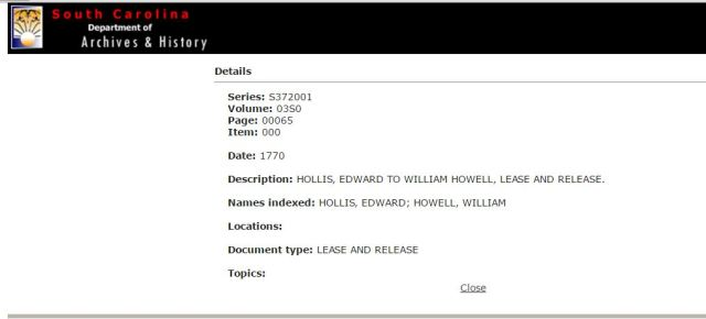 1770 Edward Hollis to William Howell lease and release in SC
