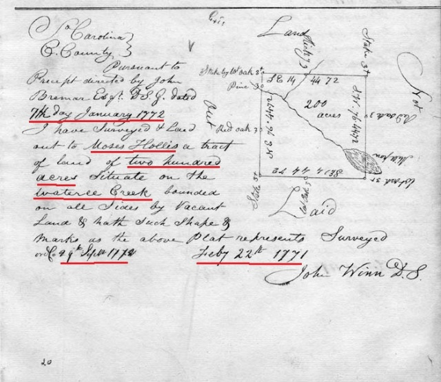 1771 Moses Hollis 200acres on Wateree Creek, Fairfield Co SC marked snip
