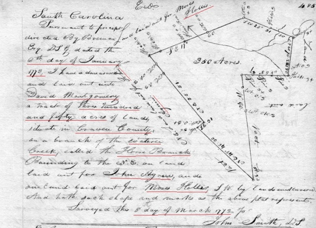 1773 Moses Hollis adj to David Montgomery in Fairfield Co SC marked snip
