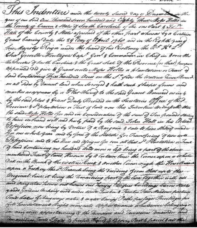 1783 Deed Moses Hollis to John Hall 100 acres on Wateree Cr in Fairfield Co SC deedbk I p 218 p1 marked snip