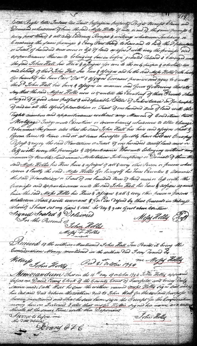 1783 Deed Moses Hollis to John Hall 100 acres on Wateree Cr in Fairfield Co SC deedbk I p 219 p2 snip marked