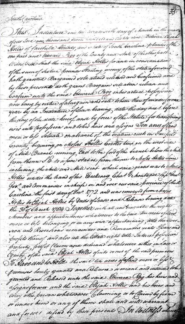 1789 Deed book F p 35a Elijah Hollis to Ed Pigg prior Moses Hollis wits John Hollis Fairfield SC p1 snip