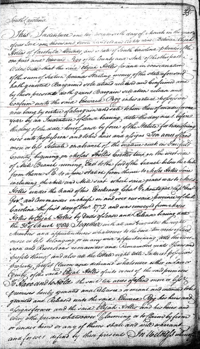 1789 Deed book F p 35a Elijah Hollis to Ed Pigg prior Moses Hollis wits John Hollis Fairfield SC p1