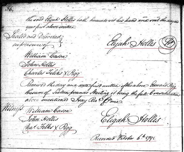 1789 Deed book F p 36a Elijah Hollis to Ed Pigg prior Moses Hollis wits John Hollis Fairfield SC p2 snip