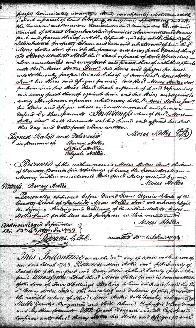 1793 Deed Moses Hollis Sr 100a to Moses Hollis Jr wit Berry John and Elijah Hollis prev granted William Goyen 300a in 1769 Fairfield Co, SC p2 marked