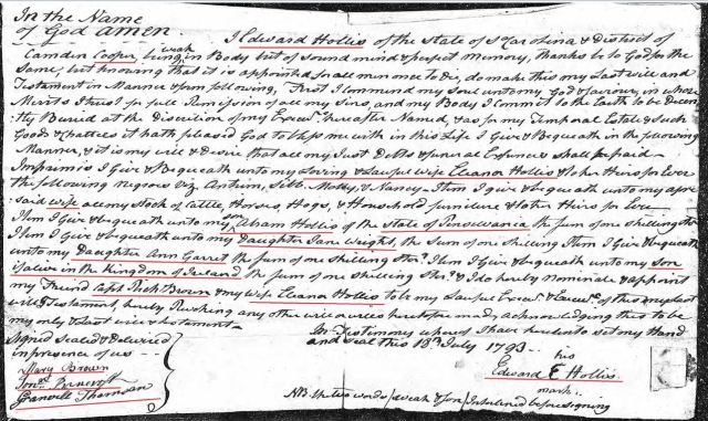 1793 Edward Hollis handwritten will in Richland Co SC snip