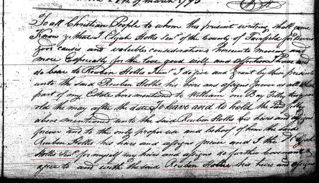 1794 Deed book I p 351a Elijah Hollis Sr gift to Reuben Hollis w Berry and John Hollis wits Fairfield SC marked snip