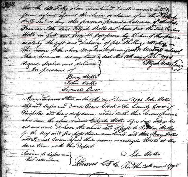 1794 Deed book I p 352a Elijah Hollis Sr gift to Reuben Hollis w Berry and John Hollis wits Fairfield SC marked snip