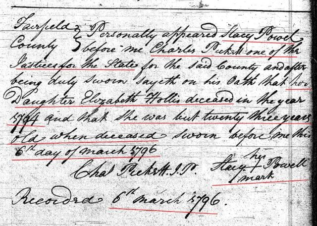 1796 Deed_K_0165a Elizabeth Hollis decd reported by mother Stacy Powell marked snip