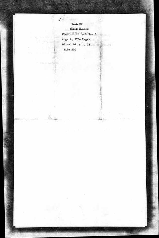 1794 Moses Hollis probate loose ppw 1 Cover, Fairfield Co, SC