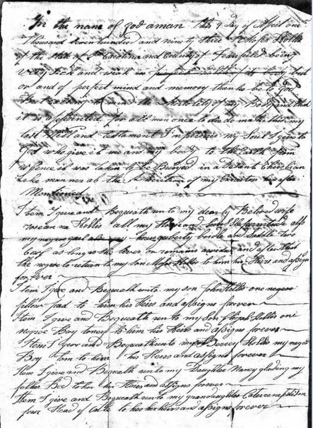 1794 Moses Hollis probate loose ppw 3 handwritten will Fairfield Co, SC 1 snip