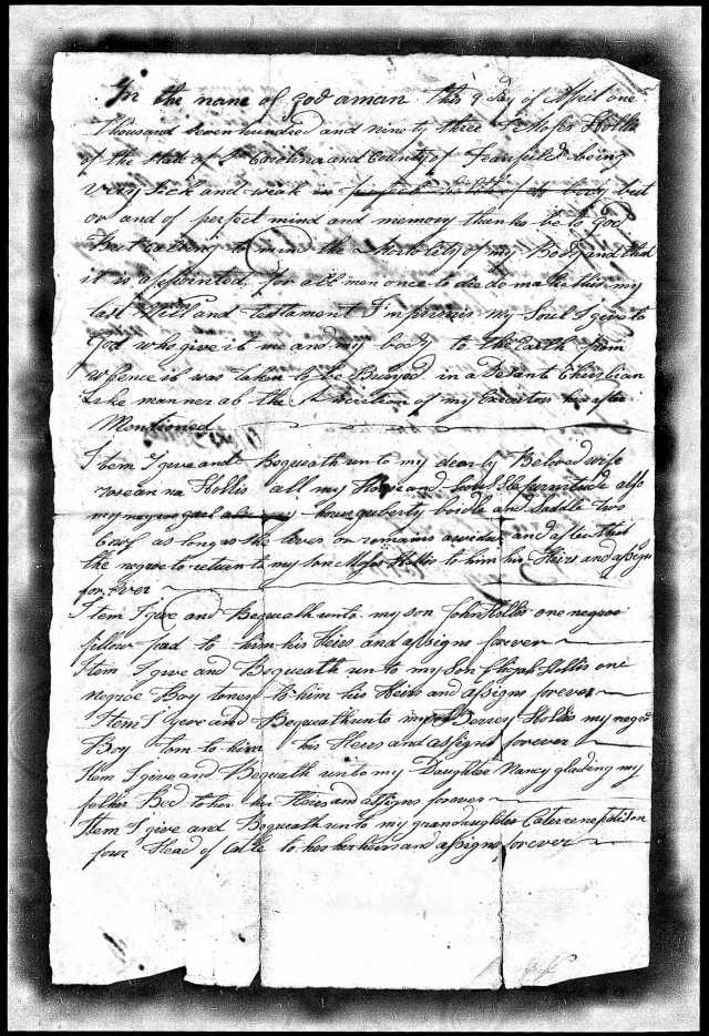 1794 Moses Hollis probate loose ppw 3 handwritten will Fairfield Co, SC 1