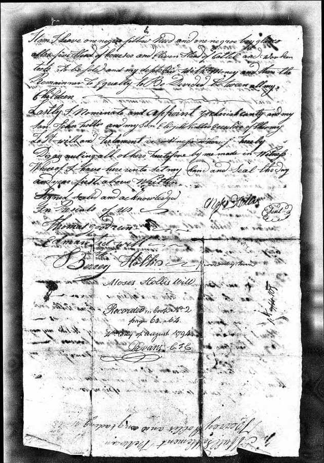 1794 Moses Hollis probate loose ppw 4 handwritten will Fairfield Co, SC 2