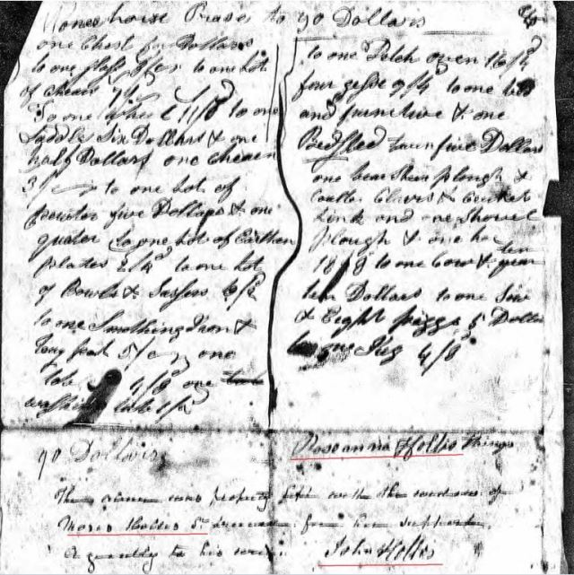 1794 Moses Hollis probate loose ppw 6 inventory marked snip