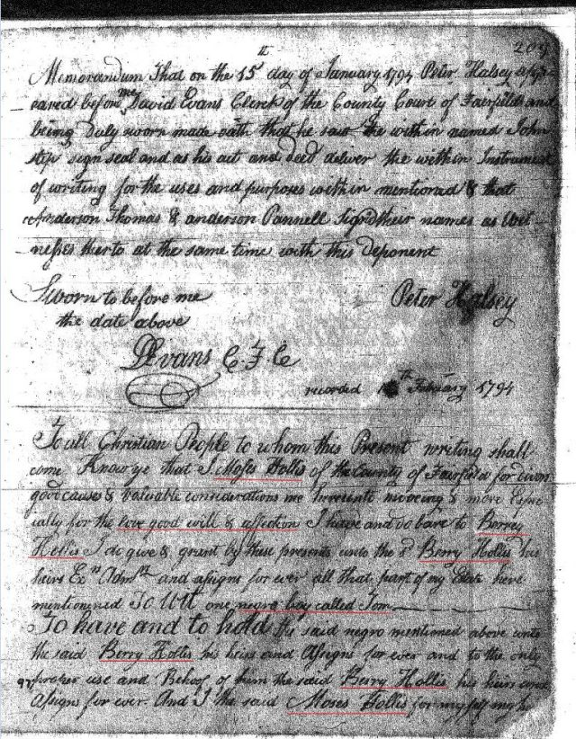 1794 Moses Hollis to Berry Hollis marked p1 Fairfield Co, SC
