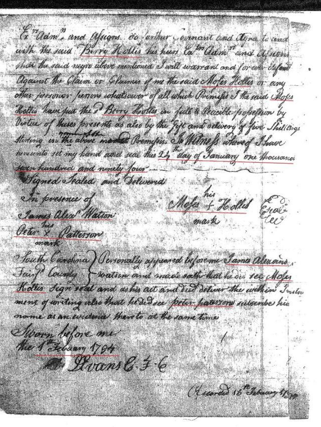 1794 Moses Hollis to Berry Hollis marked p2 Fairfield Co, SC