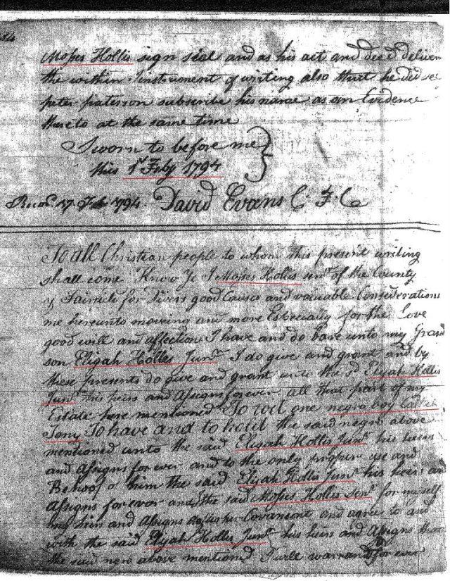 1794 Moses Hollis to Elijah Hollis Jr grandson 1 Fairfield Co, SC