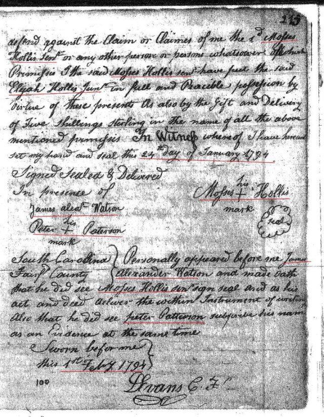 1794 Moses Hollis to Elijah Hollis Jr grandson 2 Fairfield Co, SC