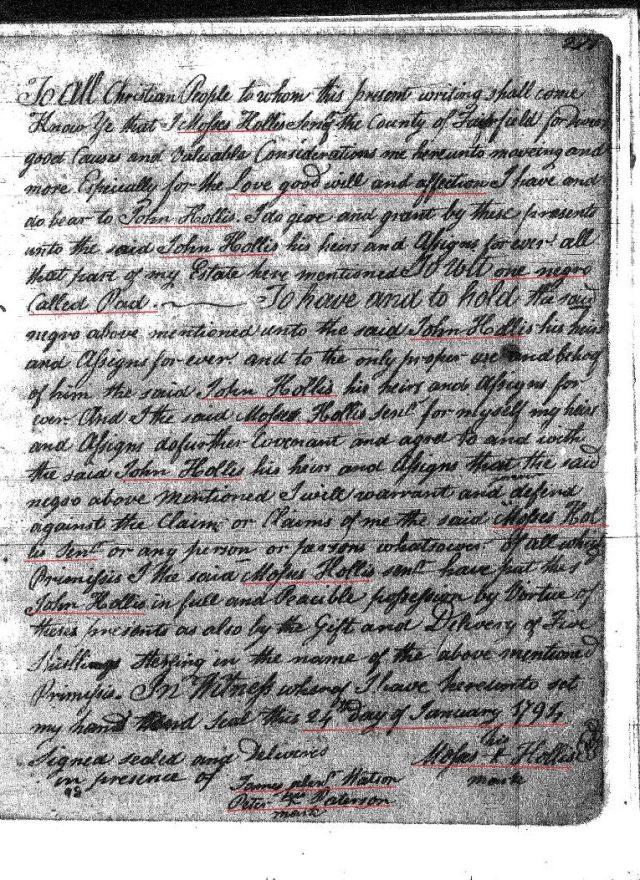 1794 Moses Hollis to John Hollis 1 Fairfield Co, SC