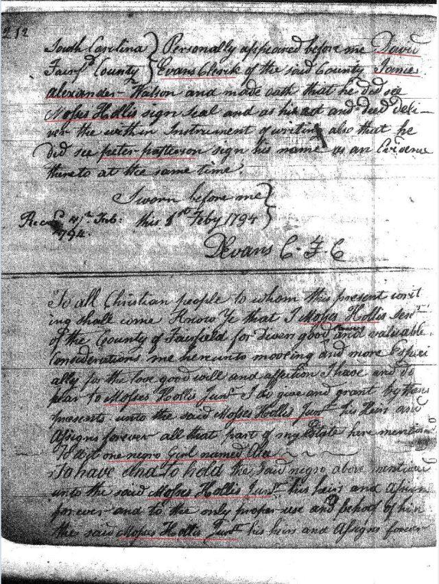 1794 Moses Hollis to John Hollis 2 Fairfield Co, SC
