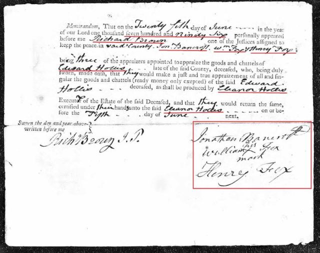 1796 Edward Hollis appraisal return Richland Co SC snip