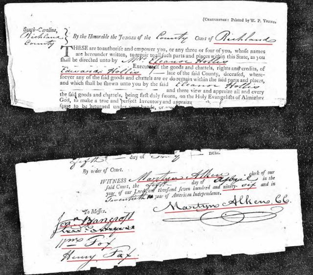 1796 order to appraise Edward Hollis estate in Richland Co SC snip