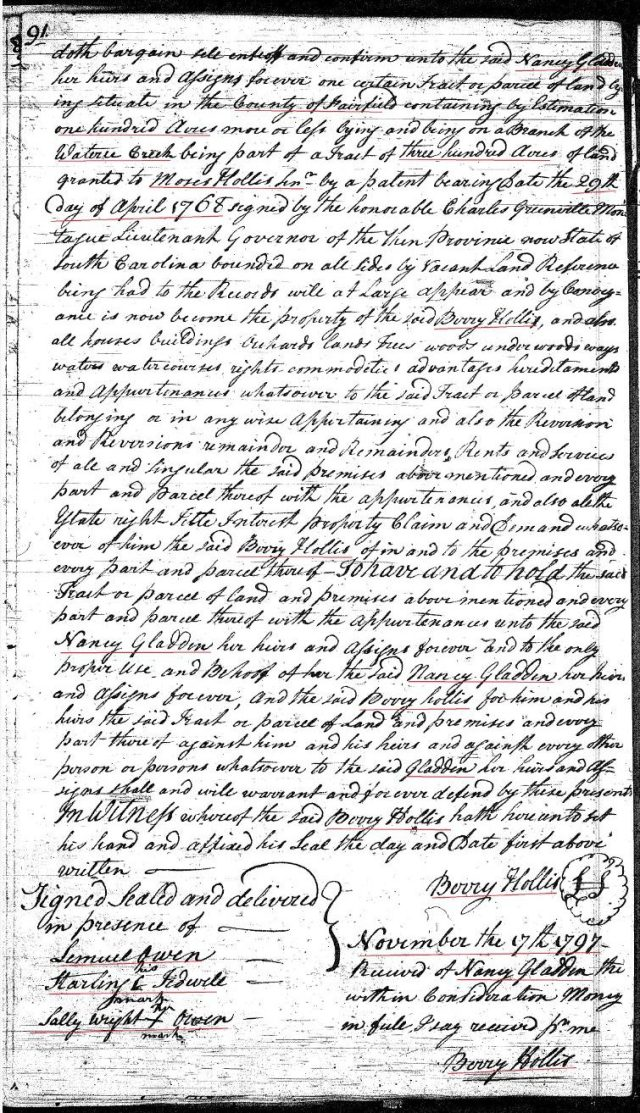 1797 Deed_L_0091a Berry Hollis to Nancy Hollis 100a land marked snip p2