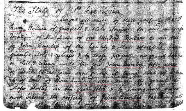 1801 Deed_N_0508a Berry Hollis to John Dunlap 50 acres Fairfield SC marked snip