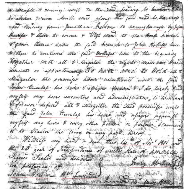 1801 Deed_N_0509a Berry Hollis to John Dunlap 50 acres w Hu Lavender a John Hollis Fairfield SC marked snip