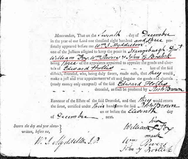 1803 order to appraise Edward Hollis estate in Orangeburg Dist by Richland Co SC snip