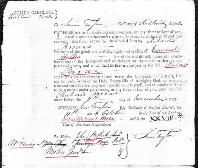 1803 order to appraise Edward Hollis estate in Richland Co SC snip