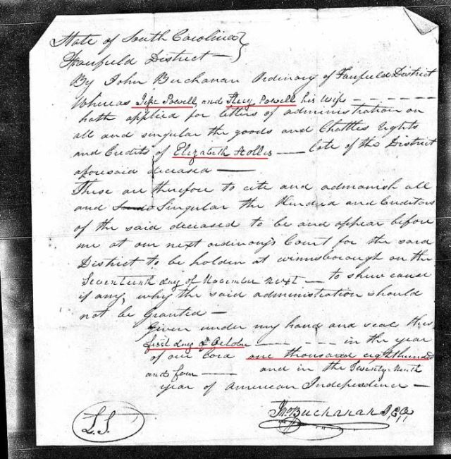 1804 Elizabeth Hollis loose ppw 2 letters of admin app marked snip