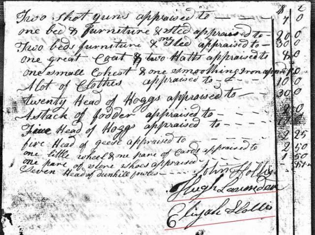 1807 March 17 Henry Going estate appraisal w appraisers Elijah Hollis John Hollis and Hugh Lavender 2 snip
