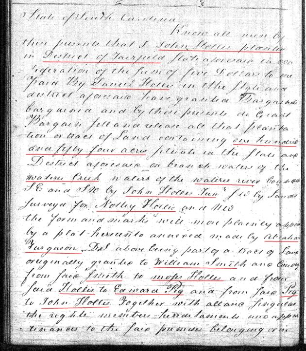 1814 Deed_Y_0165a John Hollis to Daniel Hollis prev Notley Hollis marked snip