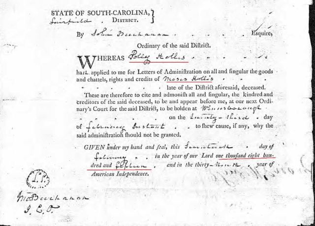 1815 Moses Hollis probate 12 admin order marked snip
