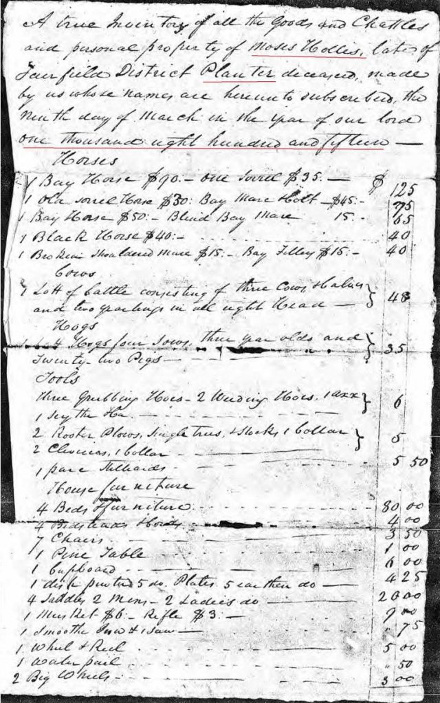 1815 Moses Hollis probate 4 inventory and account marked snip