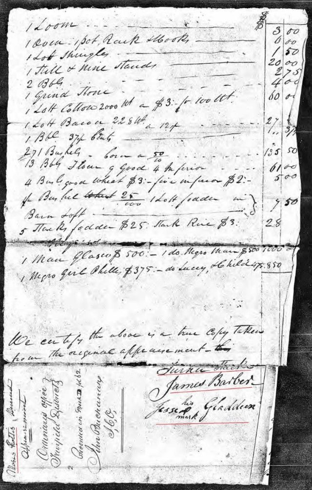 1815 Moses Hollis probate 5 inventory marked snip