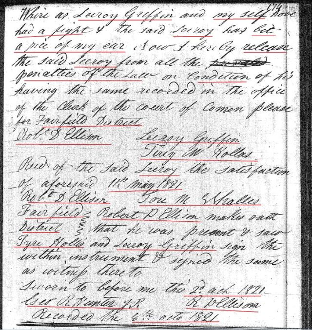 1821 Deed_CC_0174a Leroy Griffin fought and bit off piece of Tyre Hollis ear paid settlement marked snip